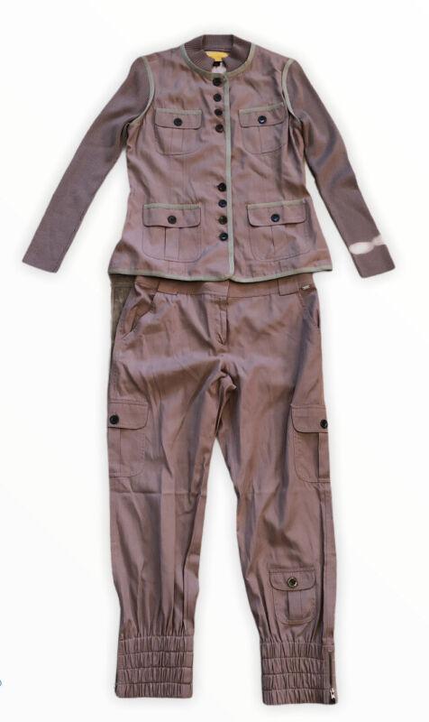 St. John Pant Suit 6 Women cream Light Brown black buttons Blazer Lightweight