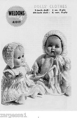Vintage Dolls Knitting pattern- fits 7 and10 Inch doll - 2 outfits  to Knit-