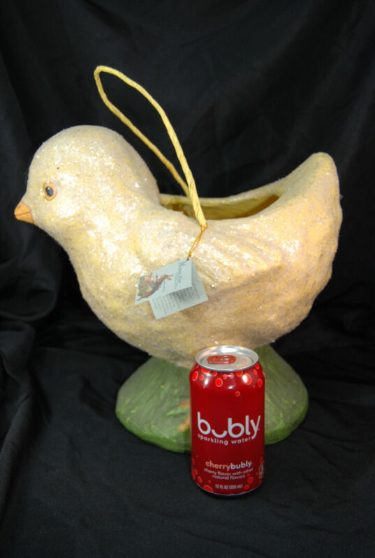 "12.75"" LARGE Bethany Lowe Chick Chicken Easter Egg Basket Paper Mache Folk Art"
