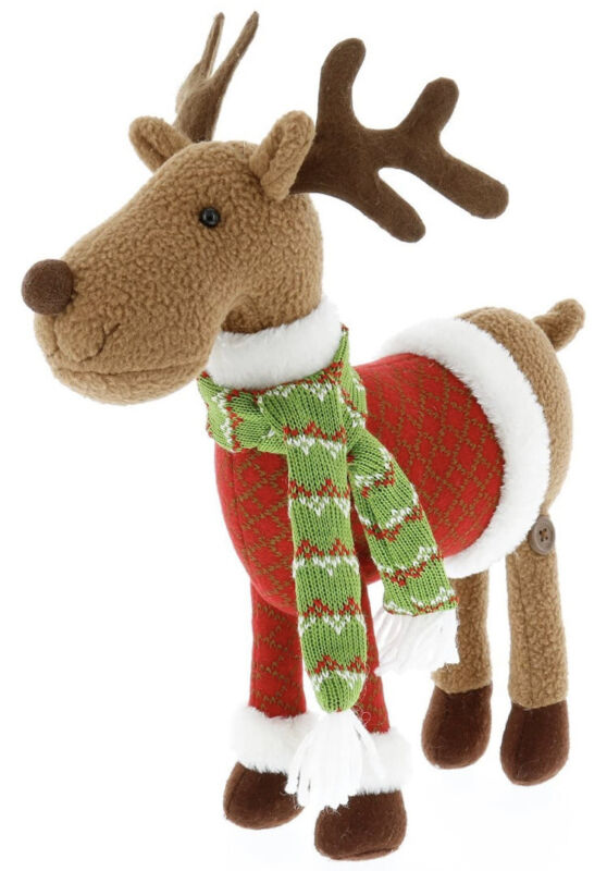 "SCS Direct 12"" Reindeer Plush Stuffed Animal Toy Doll - Christmas Decor NEW"