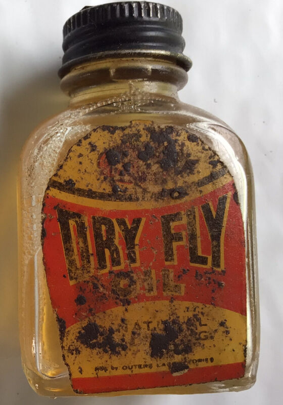Dry Fly vintage fly fishing liquid  Great Display Item!