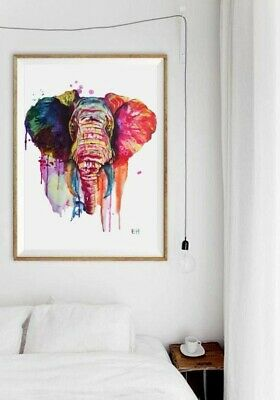 A4 Manny The Elephant Colourful Ink Painting Print high quality paper and print