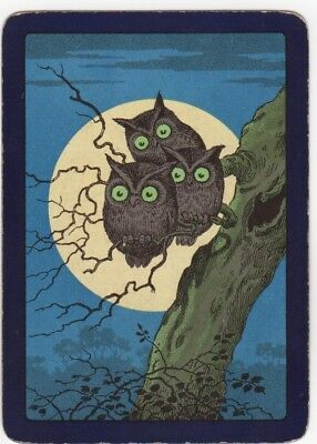 Playing Cards 1 Single Swap Card - Old Antique Wide 3 TREE OWL OWLS in MOONLIGHT