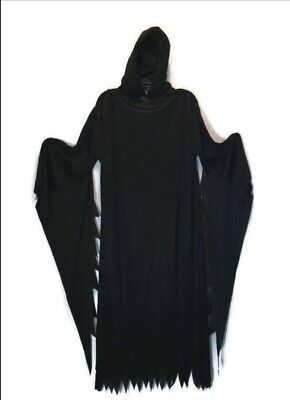 Black Grim Reaper Hooded Robe Halloween Cosplay Theater Youth