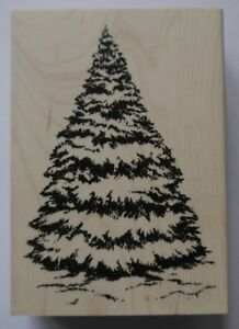 Personal Impressions Wood Mounted Rubber Stamp  LARGE FIR TREE Christmas
