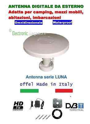 ANTENNA TV OMNIDIREZIONALE AMPLIFICATA PER CAMPER,BARCA,CAMION,CASA. OFFEL LUNA