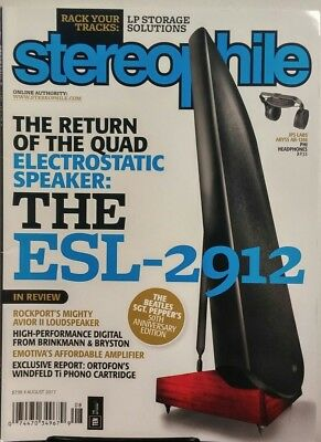 Stereophile August 2017 Quad Electrostatic Speaker The ESL 2912 FREE SHIPPING SB, used for sale  Shipping to India