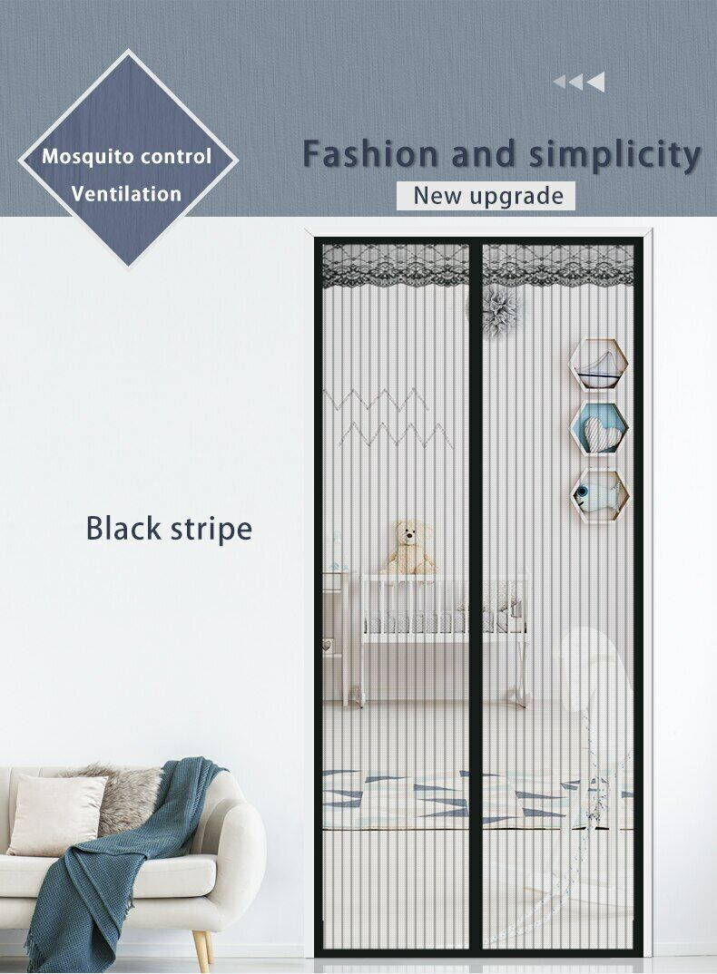 Magnetic Screen Door Heavy Duty Hands-Free Mosquito Mesh Anti Bugs Fly Curtain 4