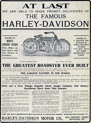 Harley Davidson Vintage Antique Motorcycle Poster Ad 1910 USA England 8 X10
