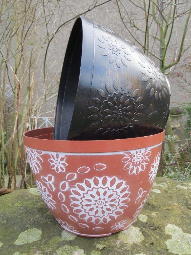 2 x Chengdu Round Planter Pots Glazed Effect Garden Patio Flower Plant Pot New