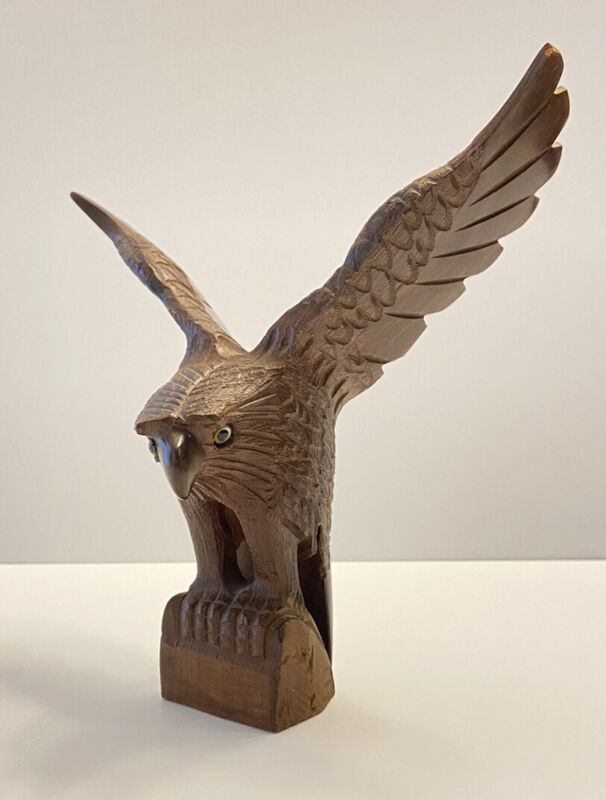 """Ironwood Hand Carved Eagle with Wings Out and Glass Eyes 8.5"""" Tall"""