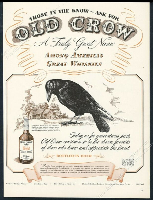 1944 Old Crow Bourbon whiskey classic black bird art vintage print ad