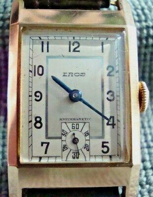 1940s VINTAGE  EROS TANK 9CT HALLMARKED SOLID GOLD WORKING ROLLED GOLD STRAP