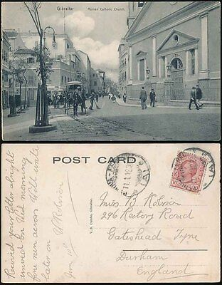 GIBRALTAR 1912 PPC STREET SCENE POSTED from ITALY
