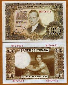 Spain-100-Pesetas-1953-P-145-UNC