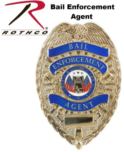 """Deluxe Gold Bail Enforcement Agent Badge 1947 Rothco 3 1/8"""" x 2 1/4"""""""