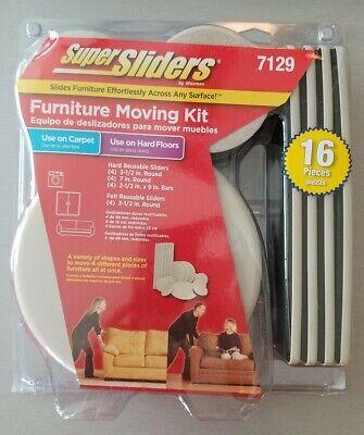 SuperSliders Furniture Moving Kit 7129 for Hardwoods & Carpet Floors 16 Pieces