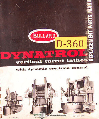Bullard Dynatrol Vertical Lathes 128 Page Parts List Manual 1975