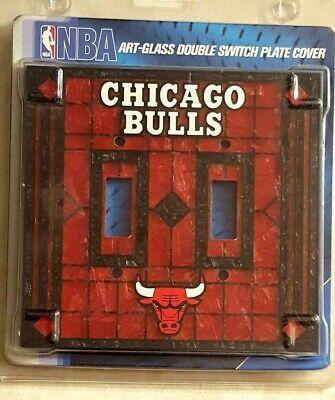 CHICAGO BULLS Switch Plate Double Wall Outlet Art Glass Design Pippen Jordan