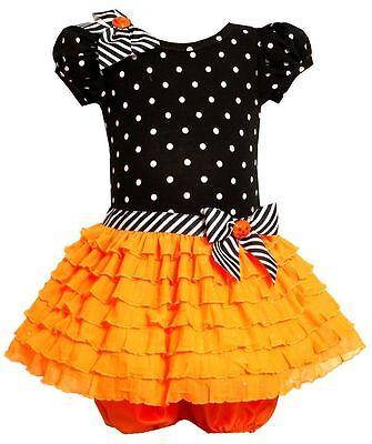 Bonnie Springs Halloween ( NEW Bonnie Jean Girls Halloween Fall Orange Dotted Ruffle Dress 12 18 24)