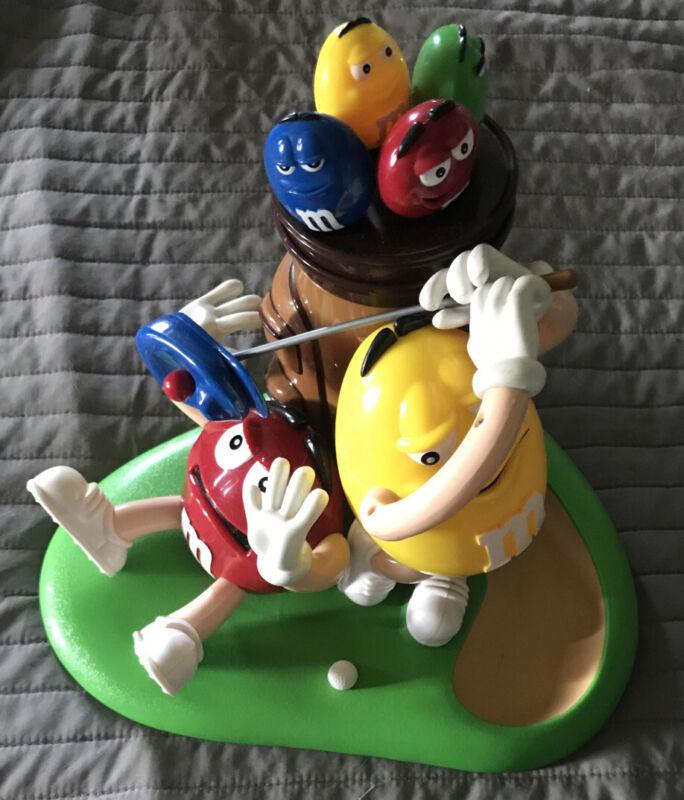 Vtg M&Ms Mars Candy Yellow Red Dispenser Golfing Golfer Gift Mancave Bar Decor