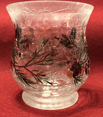 YANKEE CANDLE Pine Tree Berry Snow Crackle Glass Votive Holder Frost Table Decor