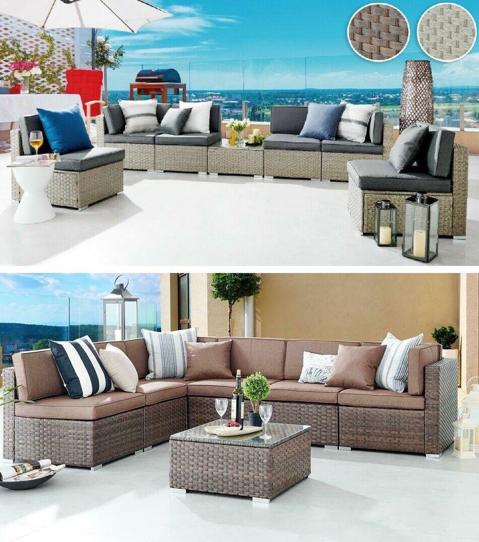 Garden Furniture - ORLANDO Brown Grey Rattan Modular Outdoor Furniture Garden Sofa Table Dining Set