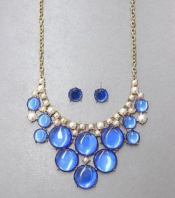 - Blue Oval Stones Pearl Accent Bib Fashion Necklace Set Fashion Jewelry