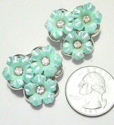 "Vintage Aqua Blue 3-Flower Cluster Rhinestone Center Clip Earrings Silvertone 1"""