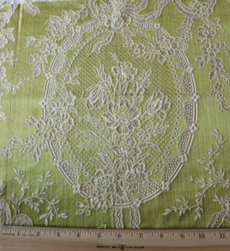 """Antique French Victorian c1880 Chartreuse Silk Fabric~Bow & Florals~14"""" X 19"""""""