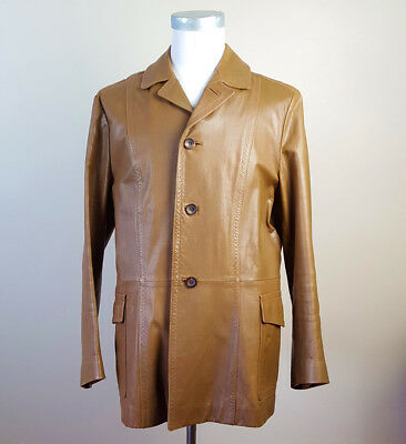 Armani Collezioni Sz 44 Calfskin Leather Tan Jacket Sport Coat MADE ITALY Men