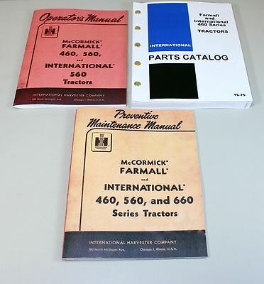 Set International Farmall 460 Tractor Operator Parts Preventive Manual Catalog