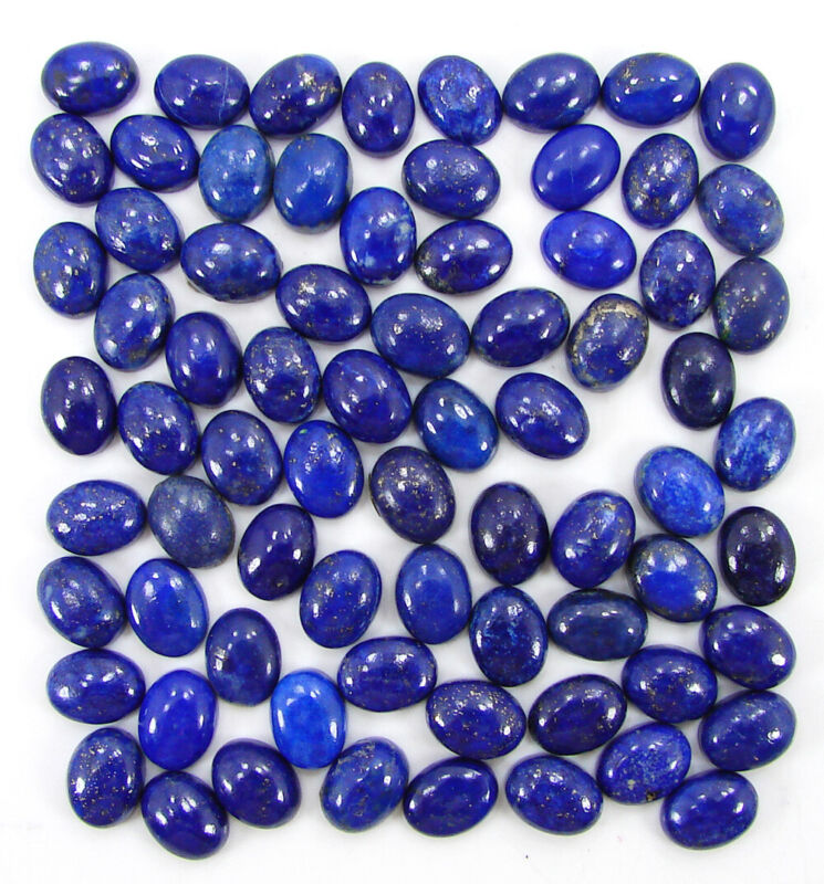100.50 Ct Natural Lapis Lazuli 6x8 Loose Gemstone Oval Cabochon 73 Pc Lot- 40126