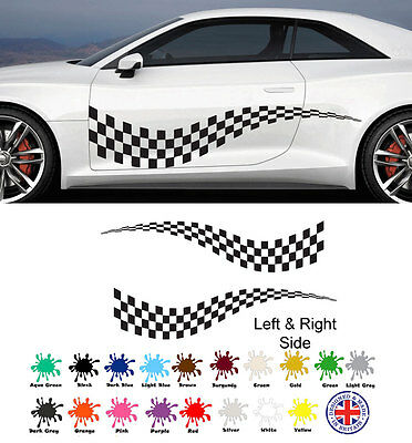 Racing Flags For Kids (chequered FLAG VINYL STICKERS race car van camper decal can be for boys)