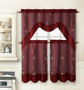 Burgundy 3 pc kitchen window curtain set 2 layer embroidered 2 tiers 1