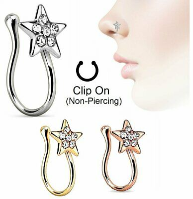 CZ Star Fake Nose Ring Hoop Septum No Non-Piercing Rose Gold Steel Clip On Body Jewelry