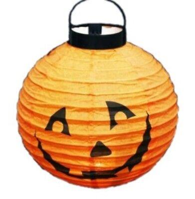 en Kürbis Kürbislaterne orange leuchtend 20 cm Laternenumzug (Halloween Beleuchtete Lampions)