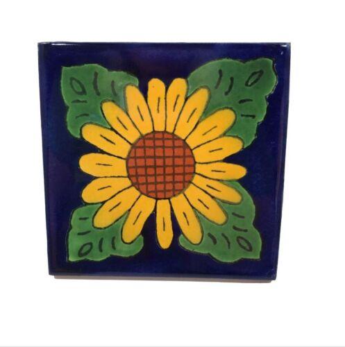 Talavera Sunflower Tile Hand painted Mexico Artisanal Blue 4.25 in Kitchen Bath