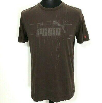 VINTAGE TRASHED PUMA T-SHIRT   SMALL MEDIUM   Brown Short Sleeve Men's Top Retro