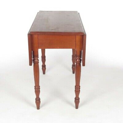 Antique drop leaf table cherry Pembroke breakfast 19th c solid wood (Th Solid Wood Furniture)