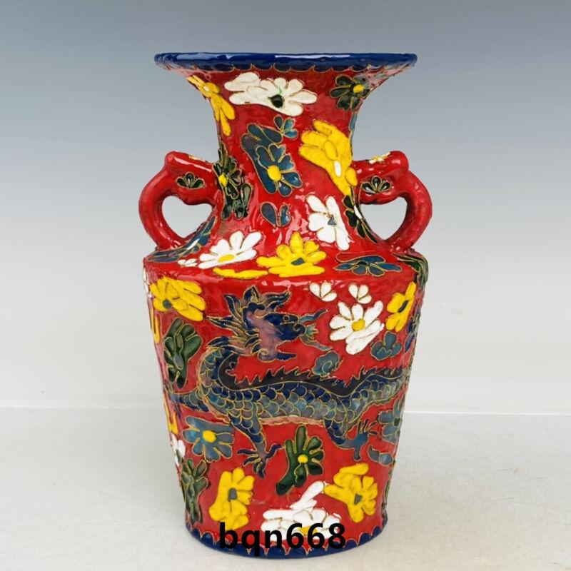"""8.8"""" Antique Song dynasty guan kiln Porcelain colour enamels double ear Vase"""