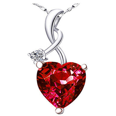 """4.03Ct Ruby Gemstone Heart Cut Pendant 925 Sterling Silver Necklace w/ 18"""" Chain"""