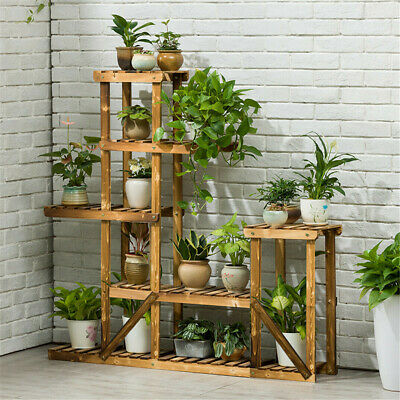 Solid Wood Plant Stand Flower Display Shelf Ladder Rack fr Indoor Outdoor Corner Outdoor Shelf Stand
