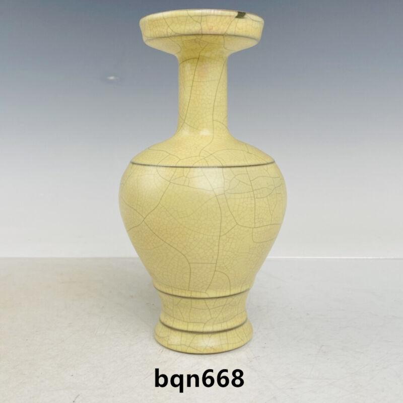 "6.8"" Old Antique Song dynasty ge kiln Porcelain Museum mark plate mouth Vase"