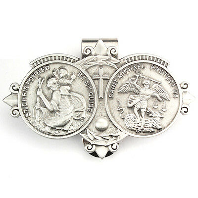 Visor Clip St Christopher & St Michael Medals Silver Pewter Vintage Car Catholic