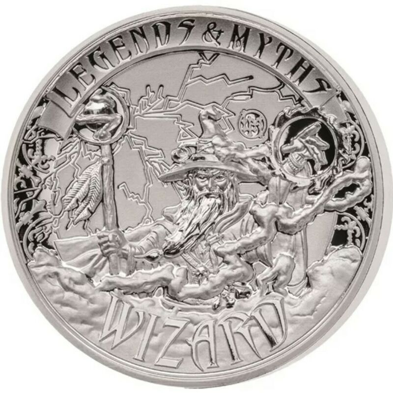 2017 Solomon Islands Wizard Legends & Myths 2oz .999 Reverse Proof Silver Coin
