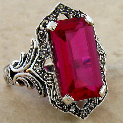 6.5 CT. LAB RUBY ANTIQUE VICTORIAN DESIGN .925 STERLING SILVER RING SIZE 8, #466