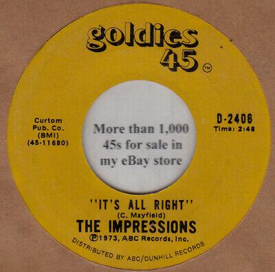 "Impressions NM 45 rpm ""It's All Right"" b/w ""Gypsy Woman"""