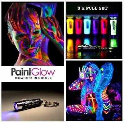 8 x10 ml each UV Paint Glow Neon Fluorescent Face & Body Paint Set Wax Based - Uv Neon Body Paint