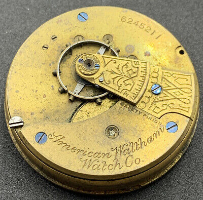 Waltham Sterling Grade 1 Pocket Watch Movement 1883 18s 7j Openface Repair F4486